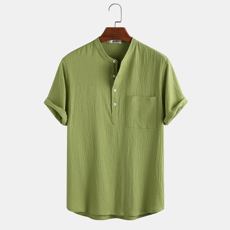 Mens Cotton Linen Casual Hidden Buttons Short Sleeve Shirt