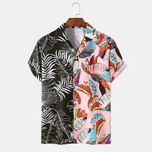 Load image into Gallery viewer, Mens Fun Plant Leaves Graffiti Patchwork Beach Casual Shirt