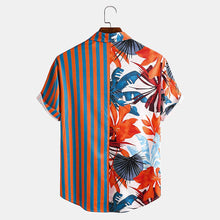Load image into Gallery viewer, Men Tropical Print Striped Patchwork Casual Holiday Curved Hem Shirt