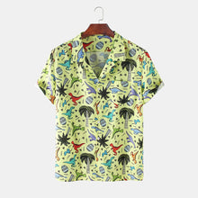 Load image into Gallery viewer, Mens Little Dinosaur Cartoon Pocket Short Sleeve Shirts