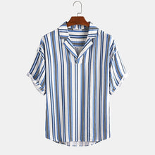Load image into Gallery viewer, Stripes Print Casual Vacation Style Short Sleeve Shirts