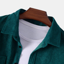 Load image into Gallery viewer, Mens Corduroy Plain Chest Pocket Turn Down Collar Long Sleeve Casual Shirts