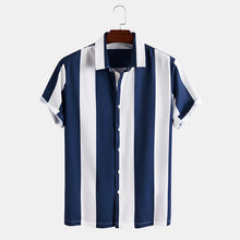 Load image into Gallery viewer, Mens Striped Single Breasted Short Sleeve Shirt