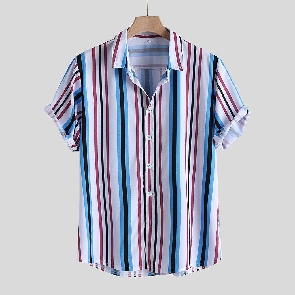 Mens Colorful Vertical Stripe Printed Holiday Casual Short Sleeve Shirt