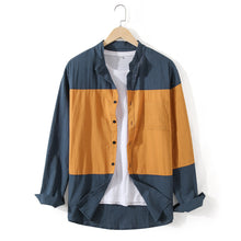 Load image into Gallery viewer, Mens Designer Patchwork Contrast Color Cotton Casual Shirts