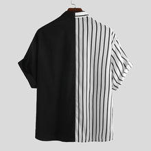 Load image into Gallery viewer, Mens Cool Patchwork Stripe Contrast Color Casual Short Sleeve Shirts