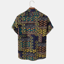 Load image into Gallery viewer, Mens 100% Cotton Abstract Print Curved Hem Short Sleeve Shirt