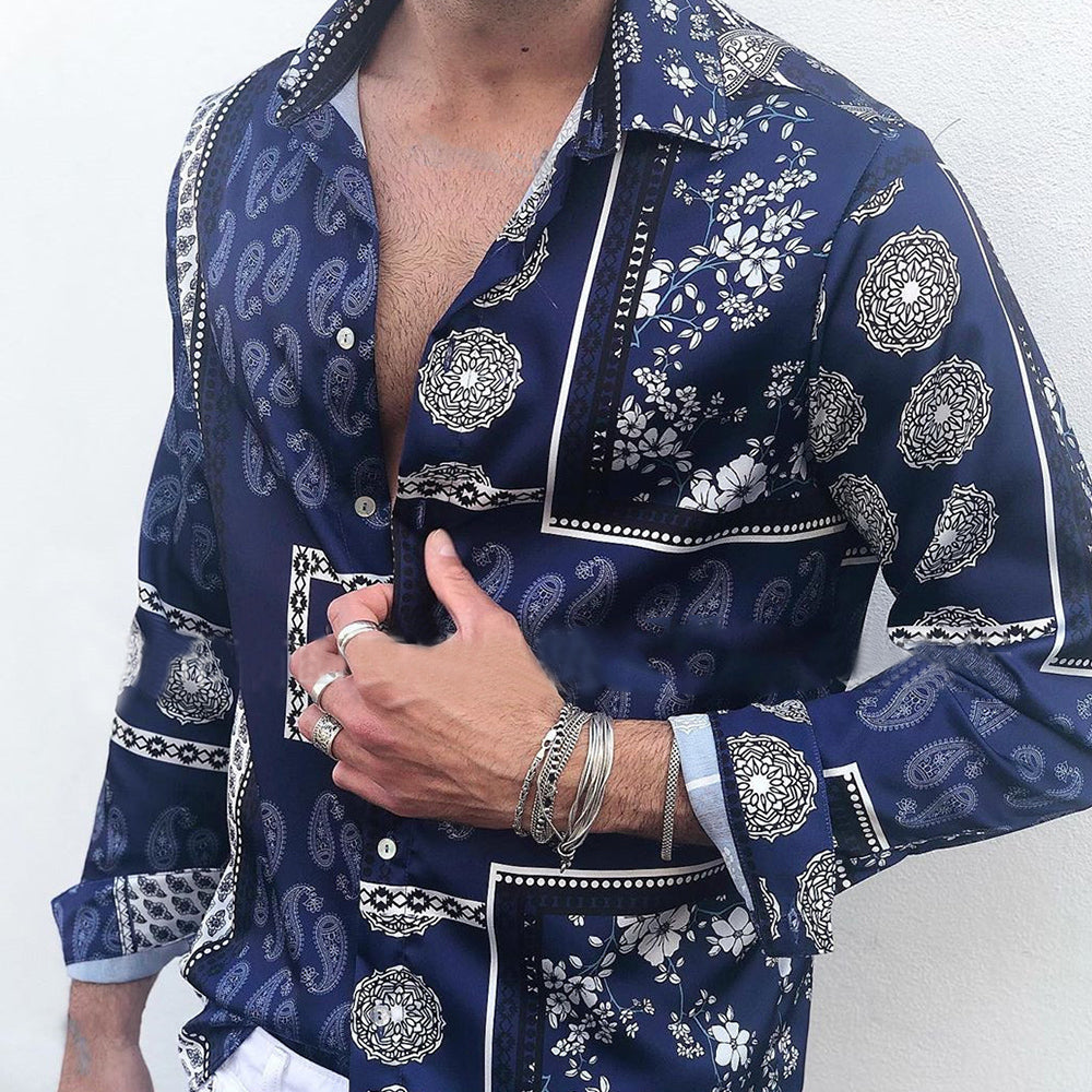 Men Ethnic Style Casual Printed Sleeves Blouses&shirts