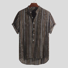 Load image into Gallery viewer, Short Sleeves Striped Blouses&shirts