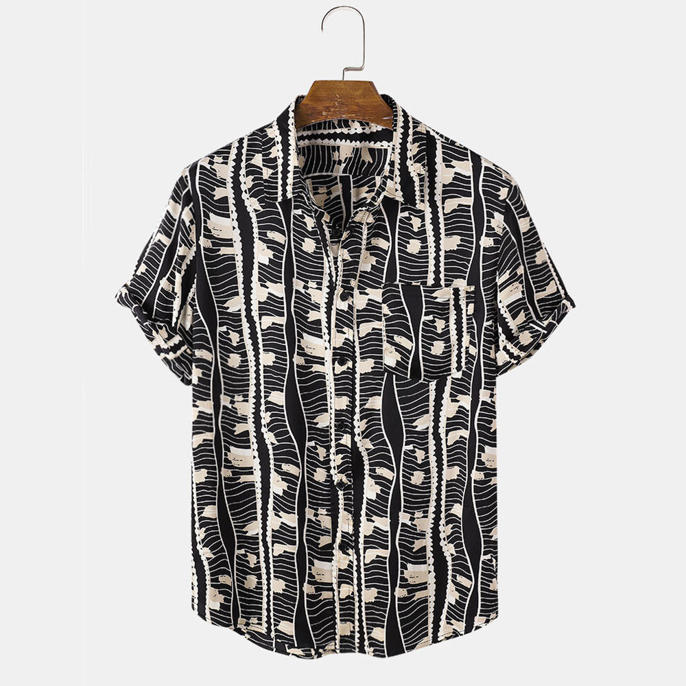 Mens Design Irregular Geometry Print Casual Holiday Short Sleeve Lapel Shirt