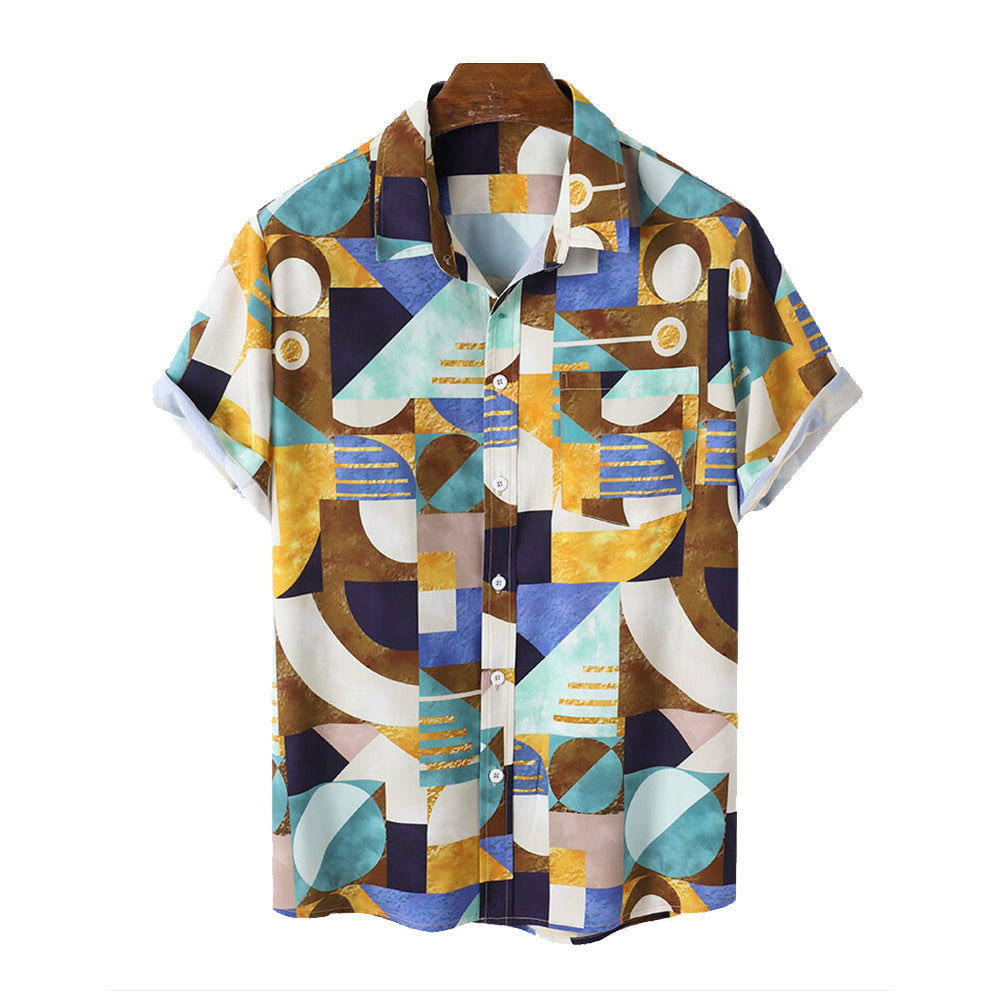 Mens Colorful Geo Print Lapel Short Sleeve Holiday Shirts With Pocket