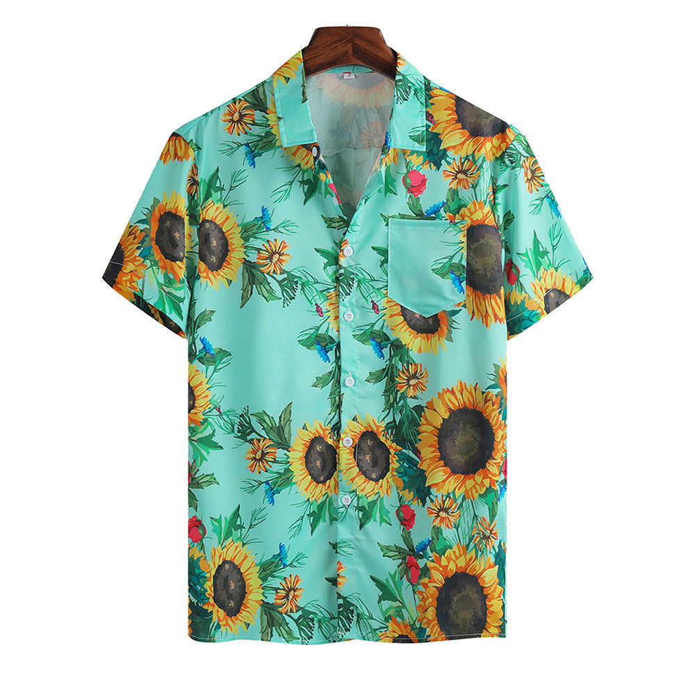 Mens Sunflower Print Light Casual Collar Short Sleeve Shirts