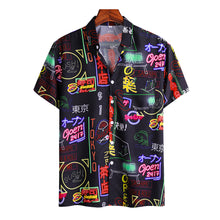Load image into Gallery viewer, Mens Fun Japanese Style Graffiti Print Casual Holiday Short Sleeve Shirt