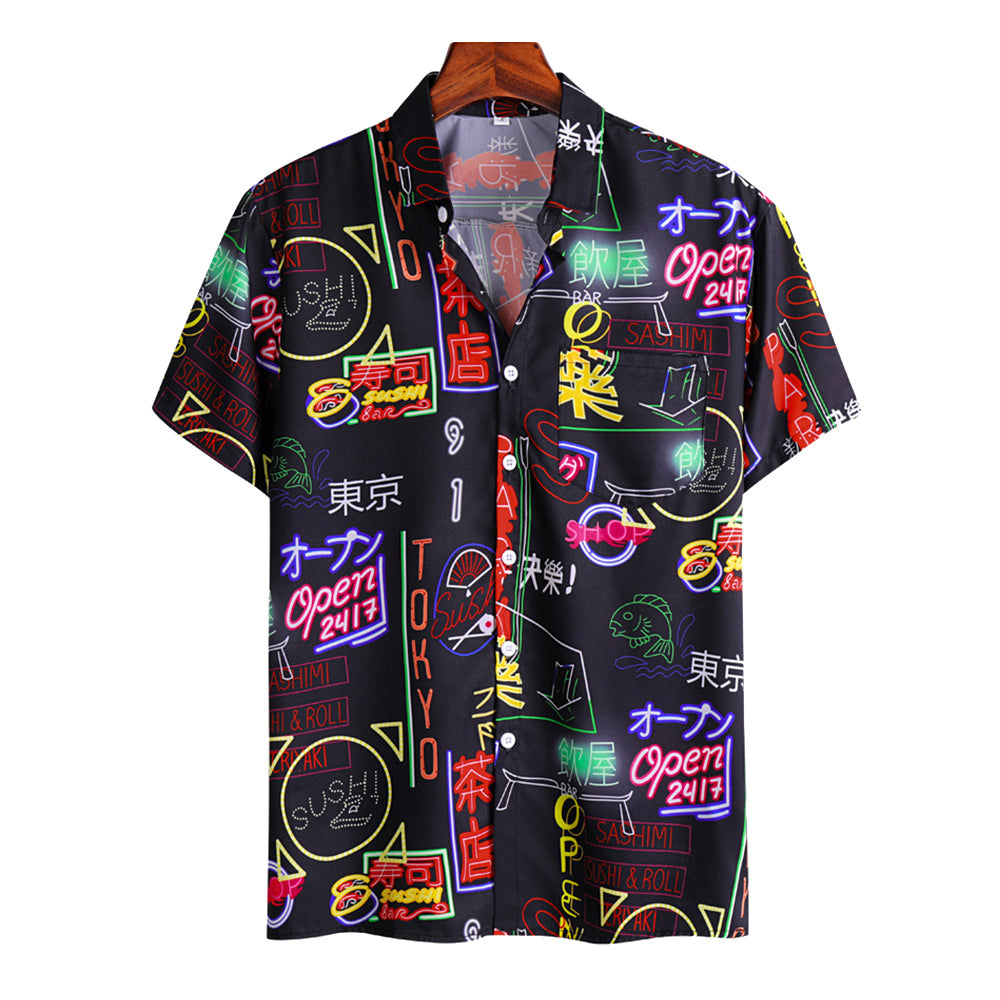 Mens Fun Japanese Style Graffiti Print Casual Holiday Short Sleeve Shirt