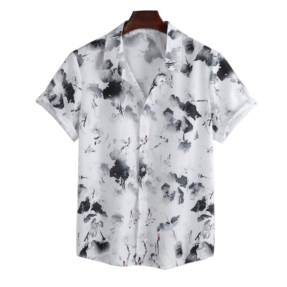 Mens Chinese Ink Style Printed Short Sleeve Shirts