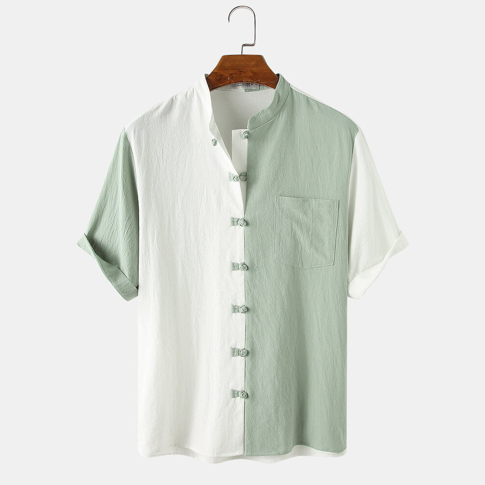 Mens Casual Chinese Style Plain Short Sleeve Hanfu Shirt