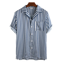 Load image into Gallery viewer, Mens Plain Color Striola Turn Down Collar Short Sleeve Shirts