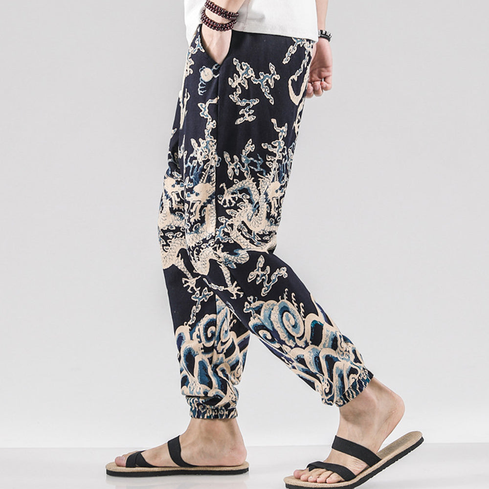 Mens Ethnic Printed Drawstring Loose Harem Pants