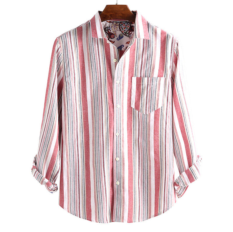 Men Rainbow Colors Striped Long Sleeves Shirt