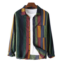 Load image into Gallery viewer, Mens Thin Breathable Cotton Colorful Stripe Holiday Long Sleeve Shirt