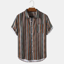 Load image into Gallery viewer, Mens Vintage Striped Print Short Sleeve Curved Hem Holiday Shirt