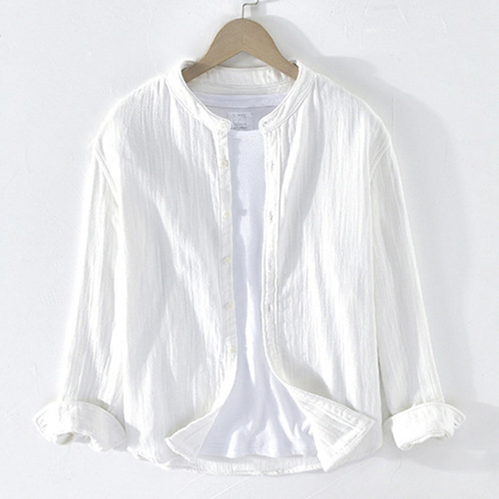 Pure Cotton Casual Stand Collar Long Sleeves