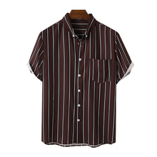 Load image into Gallery viewer, Mens Striped Button Down Collar Casual Short Sleeve Shirts With Pocket