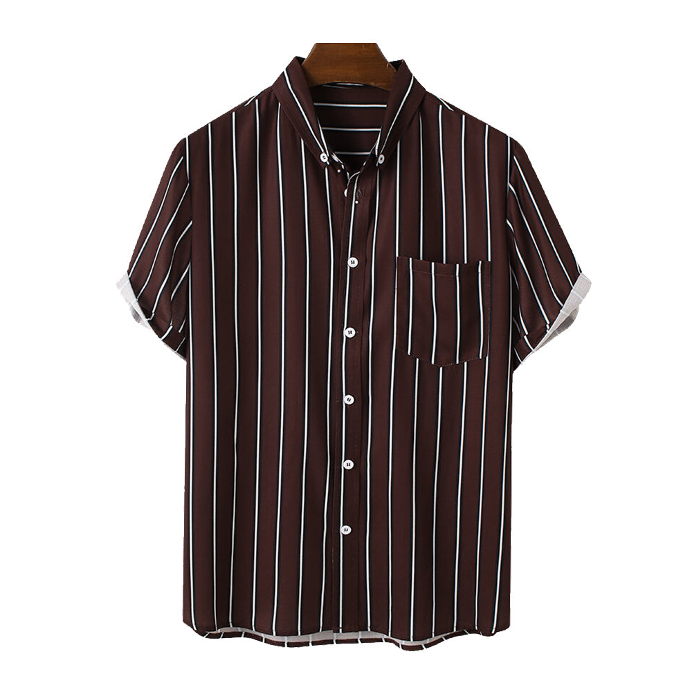 Mens Striped Button Down Collar Casual Short Sleeve Shirts With Pocket