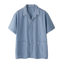 Load image into Gallery viewer, Solid Color Pocket Lapel Casual Loose Short Sleeve Shirt Suit