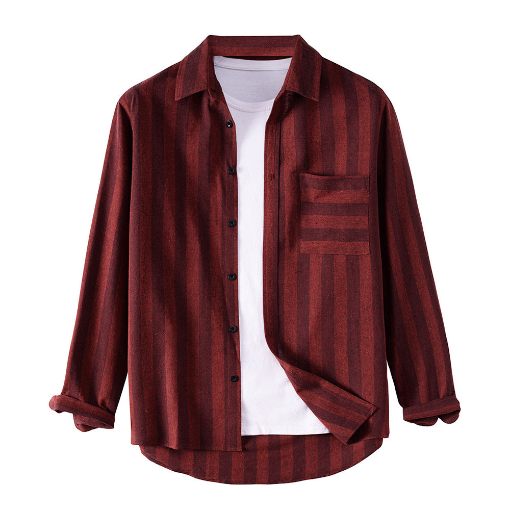 Mens Brief Striped Printed Turn Down Collar Long Sleeve Shirts