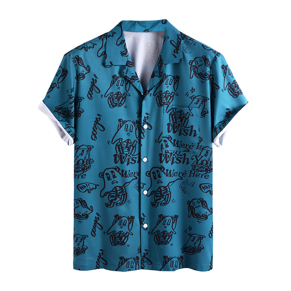 Men Funny Pictorial Printed Beach Casual Shirt