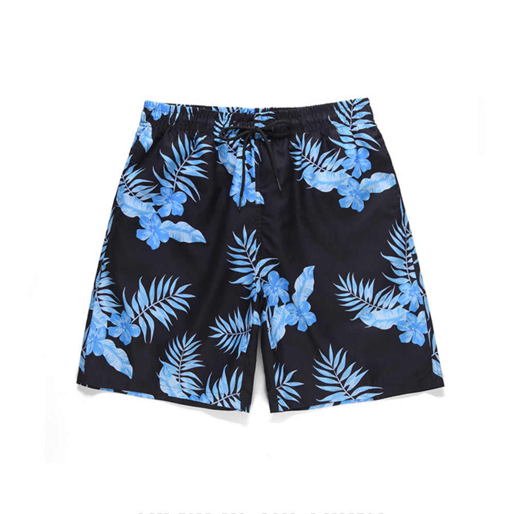 Mens Summer Tropical Leaves Pattern Printed Shorts
