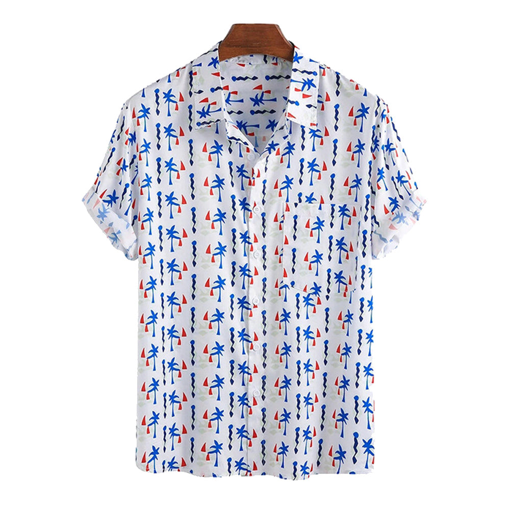 Mens Funny Printed Chest Pocket Short Sleeve Shirts