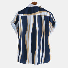 Load image into Gallery viewer, Mens Plain Color Striola Chest Pocket Casual Short Sleeve Shirts