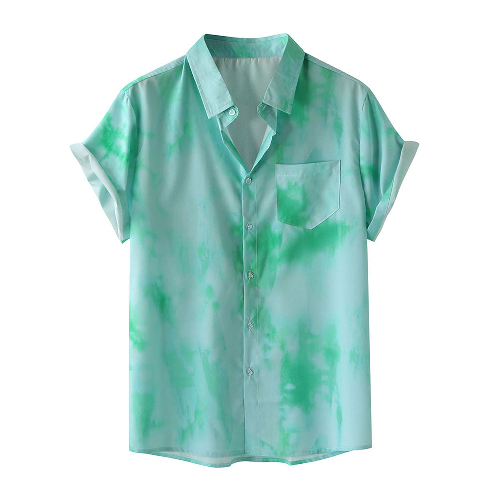 Tie-Dye Print Breathable Light Short Sleeve Shirts