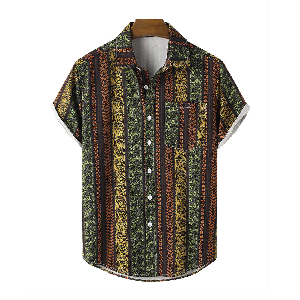 Mens Ethnic Striped Print Holiday Short Sleeve Shirt With Chest Pocket