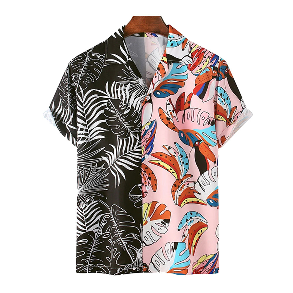 Mens Fun Plant Leaves Graffiti Patchwork Beach Casual Shirt