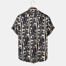 Load image into Gallery viewer, Mens Design Irregular Geometry Print Casual Holiday Short Sleeve Lapel Shirt