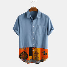Load image into Gallery viewer, Men Cotton Ethnic Printed Patchwork Casual Shirt