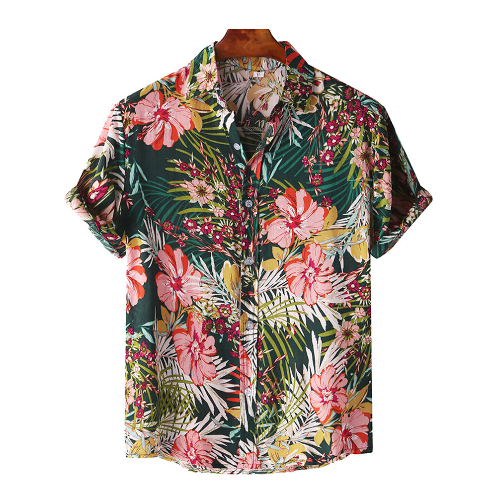Vacation Hawaiian Style Fashion Casual Printed Short Sleeves