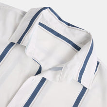 Load image into Gallery viewer, Mens Plain Striped Print Turn Down Collar Short Sleeve Shirts