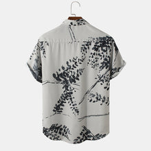 Load image into Gallery viewer, Mens Leaves Ink Painting Print Chest Pocket Turn Down Collar Short Sleeve Shirts