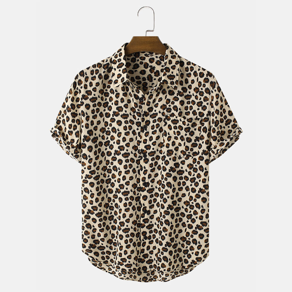 Mens Leopard Print Button Up Short Sleeve Shirts With Pocket