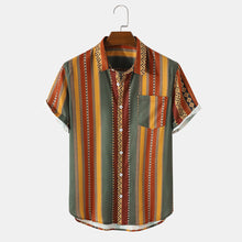 Load image into Gallery viewer, Mens Vintage Striped Geo Print Lapel Holiday Short Sleeve Shirts
