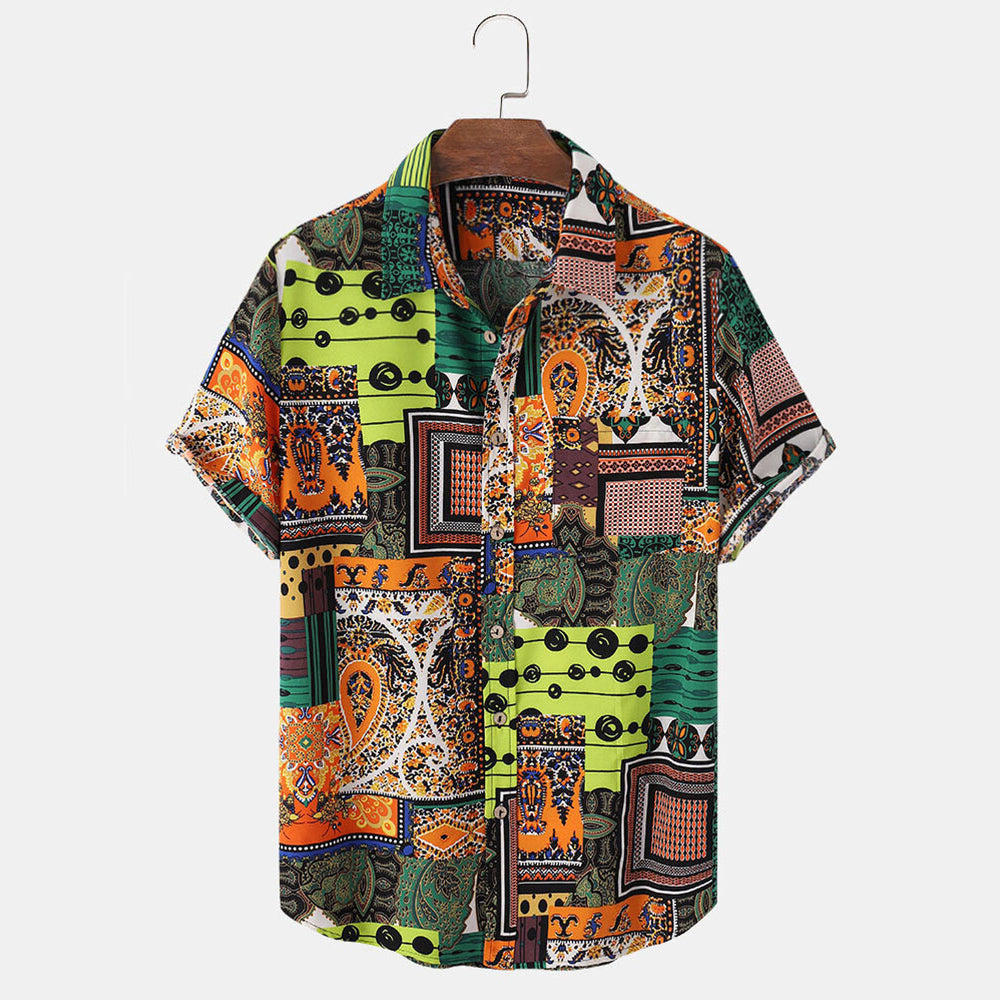 Mens Tribal Graphics Lapel Ethnic Style Short Sleeve Shirt