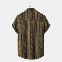 Load image into Gallery viewer, Mens Ethnic Striped Print Holiday Short Sleeve Shirt With Chest Pocket