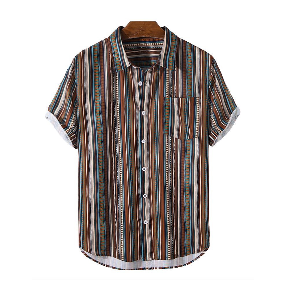 Mens Vintage Striped Print Short Sleeve Curved Hem Holiday Shirt