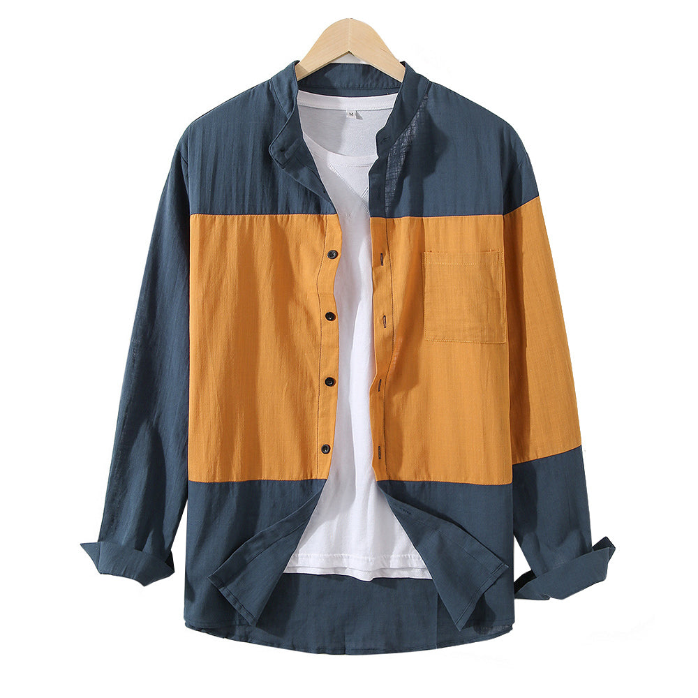 Mens Designer Patchwork Contrast Color Cotton Casual Shirts
