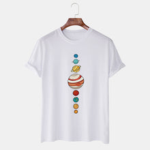 Load image into Gallery viewer, Mens Colorful Planet Printed Cotton Casual Round Neck T-shirts