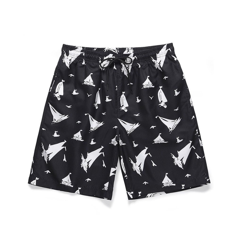 Mens Summer Sailboat Printed Beach Quick-dry Shorts